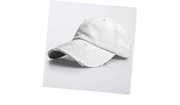 4e660e8d3ffbf3 Amazon.com: White Vintage Distressed 100% Cotton Solid Polo Denim Baseball  Cap Hat Ball Dad Washed: Garden & Outdoor
