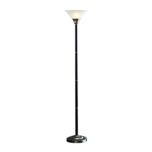 (allen + roth 71-in Brushed Nickel 3-Way Torchiere Floor Lamp with Glass Shade)