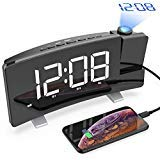 CSHID-US Projection Alarm Clock, 7'' Dimmable LED Curved Screen Digital Clock, FM Radio Alarm Clock, Adjustable Ceiling Sleep Timer for Kids Bedroom, Dual Alarms, 12/24 Hour, Snooze Function by CSHID-US