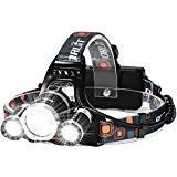 Headlamp, Six Foxes Super Bright 5000 Lumen CREE LED Work Headlight, 3 Beams 4 Modes Waterproof LED Headlamp Head Light LED Flashlight with 2 Rechargeable Batteries for Camping Hiking