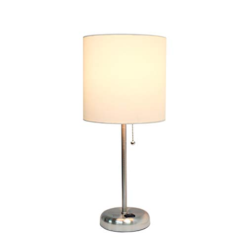 Limelights LT2024-WHT Brushed Steel Lamp with Charging Outlet and Fabric Shade, White by Limelights (Image #3)