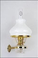 Aladdin Mantle Lamp Co. Wall-Mounted Lamp with Shade - BW170-701 Genie III Brass Lamp with Model B White Glass Shade