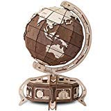 EWA Eco-Wood-Art Model Globe (Brown) 3D Wooden Puzzle DIY Mechanical with Secret Lock-Box, No Glue Required. -