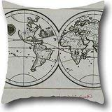 (Maderko Oil Painting Piri Reis - World Map in A Double Hemisphere Pillow Cover rs 18 X 18 Inches / 45 by 45 cm FoMonther,Indoor,Chair,Bedroom,Office,Kids Room with Twice Sides)