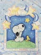 Baby Snoopy Costumes (Peanuts Baby Snoopy Starlight Quilt Crib Set of 4 - Lambs & Ivy)