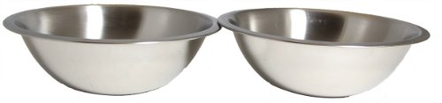 SET OF 2 - 10 Inch Wide Stainless Steel Flat Rim Flat Base Mixing (3 Quart Mixing Base Bowl)