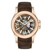 Bulova Men's 'Kirkwood' Swiss Automatic Stainless Steel and Leather Casual Watch, Color:Brown (Model: 64A103)