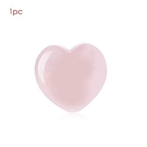 - Decorative Stones - 1/2Pcs Love Stone Crystal Heart-Shaped Stone 25X25X7Mm Natural Rose Quartz Gemstone Crystal Healing Chakra Reiki Craft Fun Toys