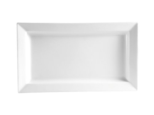 - CAC China PNS-41 Princesquare 14-Inch by 7-Inch 22-Ounce Super White Porcelain Rectangular Deep Platter, Box of 12