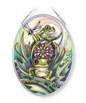 Amia 42663 Don't Worry Be Hoppy, Frog Glass Sun Catcher, Multicolor