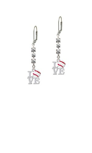(Love with Baseball - Crystal Madison Leverback Earrings)
