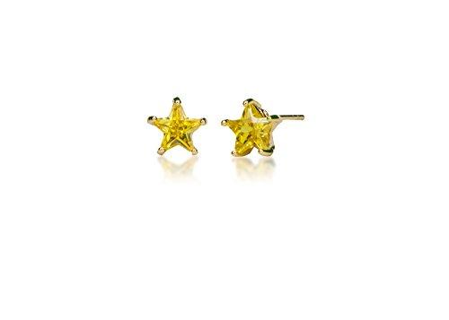 teel Studs Earrings Little Girl - Women Star Shape Birthstone Cubic Zirconia Hypoallergenic Earrings ()