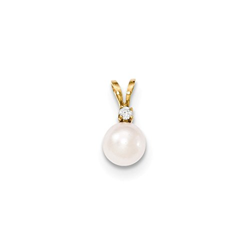 ICE CARATS 14kt Yellow Gold 8mm Round White Saltwater Akoya Cultured Pearl Diamond Pendant Charm Necklace Fine Jewelry Ideal Gifts For Women Gift Set From Heart (Diamonds 8mm Akoya Pearl Pendant)