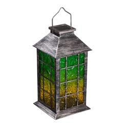 Evergreen Garden Green, Blue and Orange Solar Textured Glass Lanterns, Set of 3