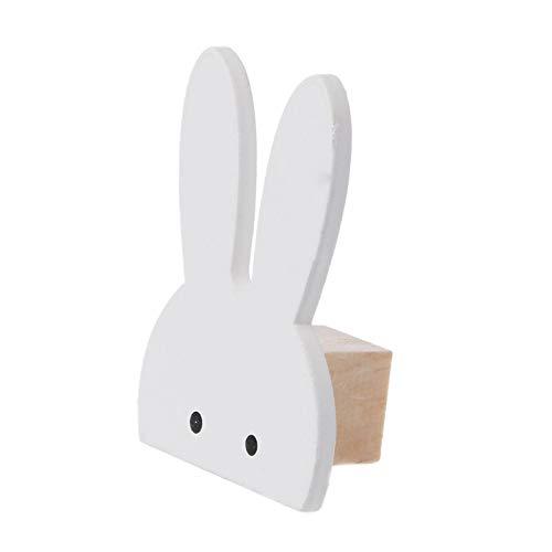 qiumeixia1 10Pcs Cute Bunny Hook Wooden Clothes Hanger Wall Decor Children Bedroom Pendant ()