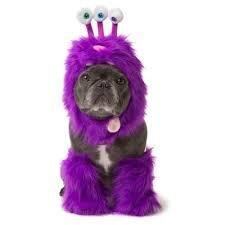 [Pet Halloween Purple Fuzzy Monster Dog Costume Size Large] (Purple Monster Costumes)