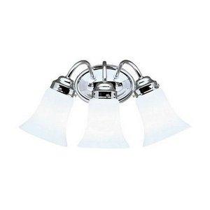 Kichler Lighting 6123CH Three Light Bath Fixture, Chrome Finish with Cased Opal Glass (Silver Three Light Vanity)