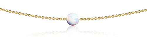 (Dainty Necklace Gold Choker Necklace - Opal Drop Gold Necklace for Women October Birthstone White Opal 14k 13 Inch Ball Chain Chokers Necklaces for Women Teens Choker Necklace for Girls Celeb-Approved)