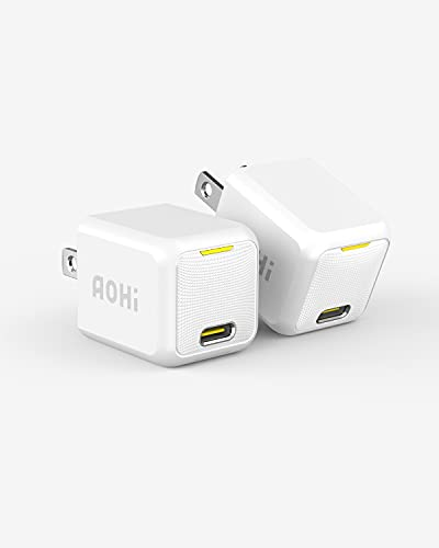 USB C Charger, AOHI 2-Pack Mini 20W PD Fast Charger, Type C Wall Charger Power Adapter, Apple Charger for iPhone 13/13 Mini/13 Pro/13 Pro Max/12 Series/11 Series/MagSafe/iPad Pro/AirPods Pro and More