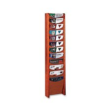 Buddy Products Solid Oak 12 Pocket Literature Display Rack, 3.75 x 48 x 11 Inches, Medium Cherry (0612-17)