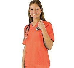 (Women's Scrub Set - Medical Scrub Top and Pant, Mandarin Orange,)