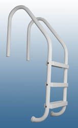 """SAFTRON Rust Proof P-324-L3 Residential Inground Gray Three-Step Swimming Pool Ladder. 53"""" Tall x 24"""" Wide. (Includes Matching Escutcheons & Shipping)"""