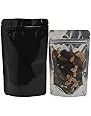 Patek Packaging - 200 Pack, Glossy Black/Clear Ziplock Stand Up Mylar Bags, 4mil Thick Reusable Aluminum Food Pouch Bag