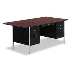 Alera ALESD7236BM Double Pedestal Steel Desk, Metal Desk, 72w x 36d x 29-1/2h, Walnut/Black