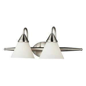 - Elk Lighting Alpine 2-Light Steel Bath Bar, Satin Nickel
