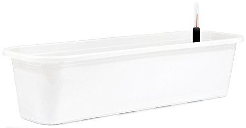 Blumenkasten mit Wasserspeicher und Untersetzer Blumentopf Balkonkasten weiß 60 cm