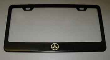 mercedes benz logo black license plate frame