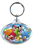 2014 Starburst Lucite Oval Keychain Mickey Minnie Donald Goofy (Florida Namedrop)