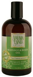 - Aromaland Tea Tree & Lemon Massage & Body Oil 12 oz