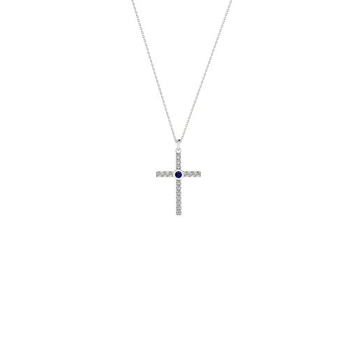 14k White Gold Natural Blue Sapphire and Diamond Cross Pendant with Gold Plated 925 Silver Necklace 18