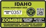 "Idaho ID Zombie Hunting Permit Decal 4"" x 2.4"" Outbreak Sticker"