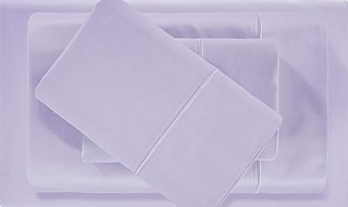 500-Thread-Count Premium 100% Pima Cotton Queen Sheets Set - Lilac Long-staple Cotton Queen Bed Sheet, Fits Mattress Upto 18'' Deep Pocket,Breathable,Soft Sateen Weave 4-Piece Sheets & Pillowcases