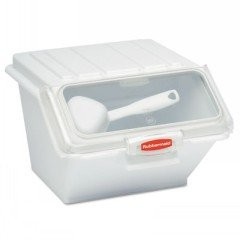 Rubbermaid Commercial ProSave Shelf-Storage Ingredient Bin w/Scoop, 11 3/4w x 15d x 8 1/2h, White - Includes one each. (Savers Rubbermaid Shelf Stackable)