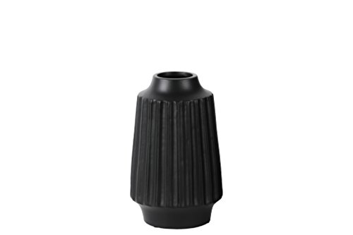 Urban Trends Ceramic Round Vase with Round Lip Ribbed Body and Tapered Bottom, Small, Matte Black