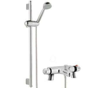 Bath shower mixer with riser rail