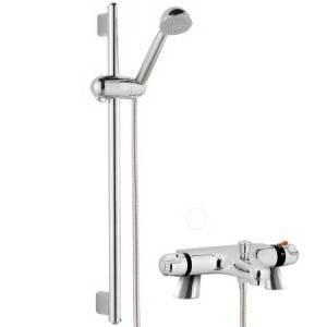 Thermostatic Bath Shower Mixer With Modern Bathroom Slider Riser Rail Kit  Modern Styling With Chrome Finish