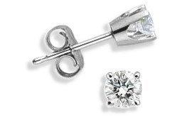 Baby 0.06 TCW White Gold Diamond Stud Earrings by Elite Jewels