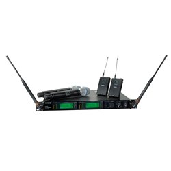 Shure UR4D+ Dual Channel Wireless System with Two UR1 Bodypacks and Two UR2/BETA87C Handheld Transmitters Band G1 ()