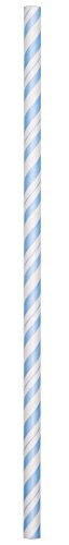 Creative Converting 24 Count Paper Straws, Pastel Blue/White Stripe