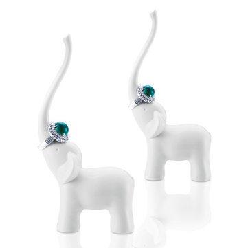 Decorative Crafts - Honana Dx-F1 Elephant Swan Ceramics Ring Holder Elegant Fashion Show Shelf Craft Articles - Ring Holder Holders Jewelry White Wedding Decor Bathroom Engagement Dish - 1PCs (Blog Halloween Craft)
