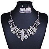 Yiwa Unique Art Tribal Abstract Pattern Bib Choker Necklace Earrings Jewelry Set ()