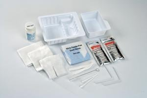 Covidien 47800 Argyle Tracheostomy Care Tray with Removable Basin, Trach Brush, Drape, 36'' Twill Tape, Cotton Tipped Applicators, Pipe Cleaners and Gauze Sponges, Blue Nitrile Gloves (Pack of 20)