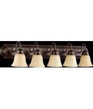 Quorum Lighting 5094-5-386, Glass Wall Vanity Lighting, 5LT, 375 Watts, Oiled Bronze