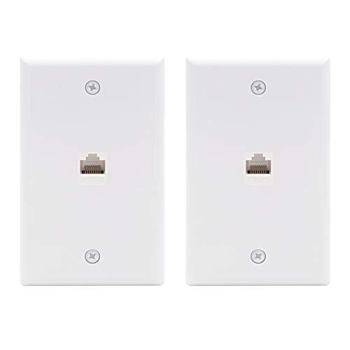 - [UL Listed] VCE (2-Pack) 1 Port Cat6 Female to Female Wall Plate - White