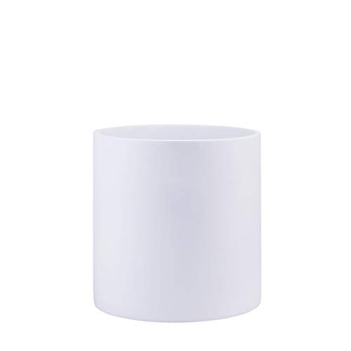 Indoor 8 Inches Round Modern Fiberglass Resin Planter Pot - Matte White - Easy Grow Planter with Drainage Hole and Plug - by Dvine Dev