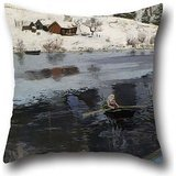 Cushion Covers 16 X 16 Inches / 40 By 40 Cm(2 Sides) Nice Choice For Kids Girls,teens Girls,floor,girls,family,him Oil Painting Frits Thaulow - Winter At The River Simoa ()